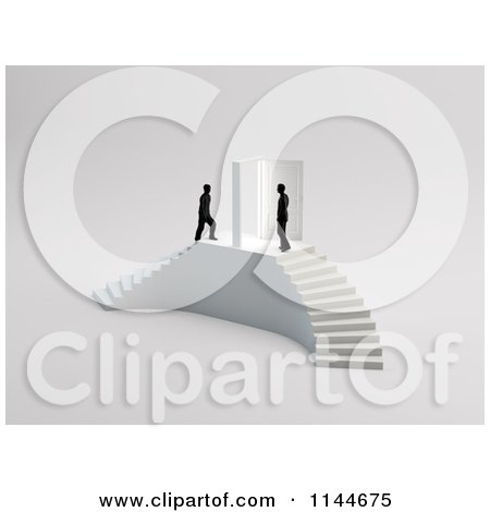 Clipart of 3d Businessmen Climing up Stairs Towards a Door - Royalty Free CGI Illustration by Mopic