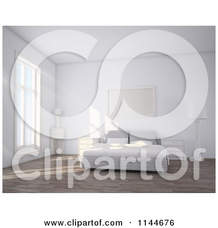 Clipart of a 3d White Simple Bedroom Interior with Daylight - Royalty Free CGI Illustration by Mopic
