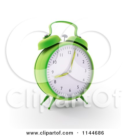 Clipart of a 3d Green Alarm Clock with Grass Hands - Royalty Free CGI Illustration by Mopic