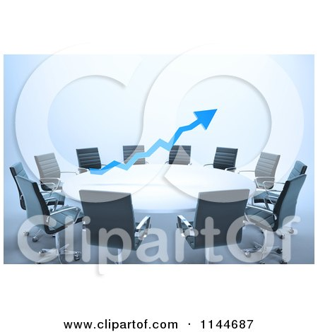 Clipart of a 3d Blue Arrow over a Meeting Table - Royalty Free CGI Illustration by Mopic