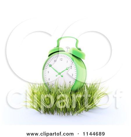 Clipart of a 3d Green Alarm Clock in Grass - Royalty Free CGI Illustration by Mopic