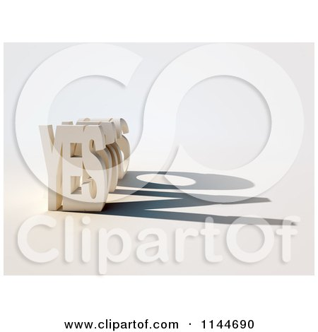 Clipart of a 3d YES Casting a Contradicting No Shadow - Royalty Free CGI Illustration by Mopic
