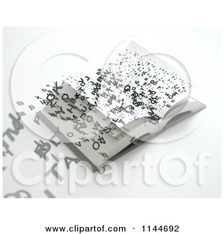 Clipart of 3d Letters Flying out of an Open Book 2 - Royalty Free CGI Illustration by Mopic