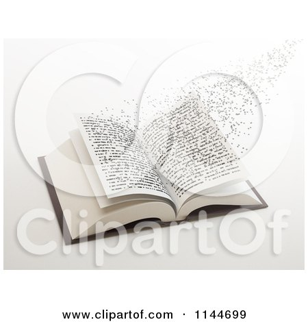 Clipart of 3d Letters Flying out of an Open Book 1 - Royalty Free CGI Illustration by Mopic