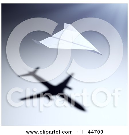 Clipart of a 3d Paper Airplane with a Shadow of a Jet - Royalty Free CGI Illustration by Mopic