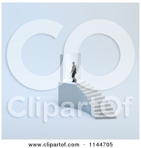 Clipart of a 3d Tiny Man Walking Through a Door at the Top of Stairs - Royalty Free CGI Illustration by Mopic