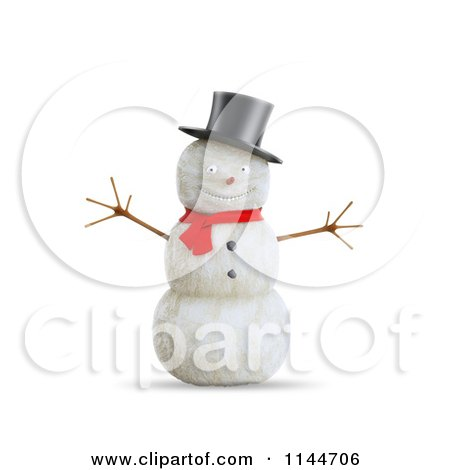 Clipart of a 3d Smiling Snowman with a Top Hat and Red Scarf - Royalty Free CGI Illustration by Mopic