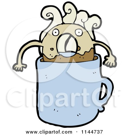 Cartoon of a Donut Dunking in a Blue Coffee Mug - Royalty Free Vector Clipart by lineartestpilot