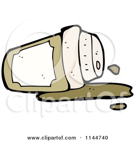 Cartoon of a Spilled to Go Coffee Cup 3 - Royalty Free Vector Clipart by lineartestpilot