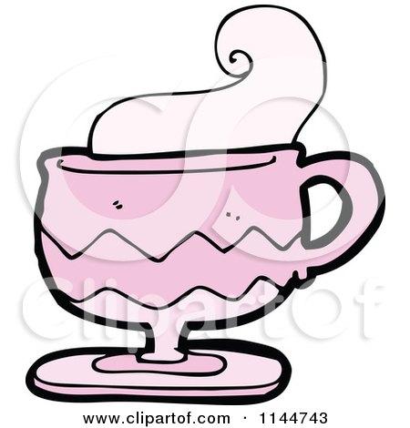 Cartoon of a Pink Coffee Mug with Steam 1 - Royalty Free ...