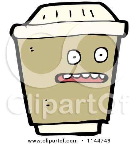 Cartoon of a Surprised Brown to Go Coffee Mascot - Royalty Free Vector Clipart by lineartestpilot