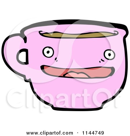 Cartoon of a Pink Coffee Mug Mascot 2 - Royalty Free Vector Clipart by lineartestpilot