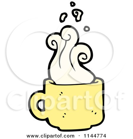 d52511e32fb1 Cartoon of a Yellow Coffee Mug with Steam 2 - Royalty Free Vector Clipart  by lineartestpilot