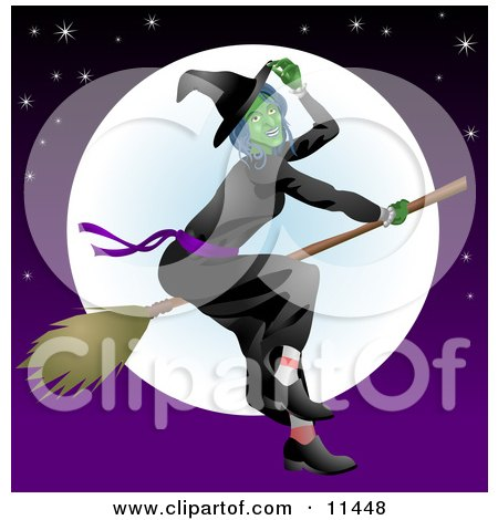 Ugly Witch Flying on a Broomstick in Front of the Moon Posters, Art Prints