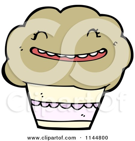 Cartoon of a Muffin - Royalty Free Vector Clipart by lineartestpilot