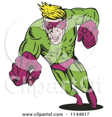 Clipart of a Male Superhero Running and Pointing 3 - Royalty Free Vector Illustration by patrimonio