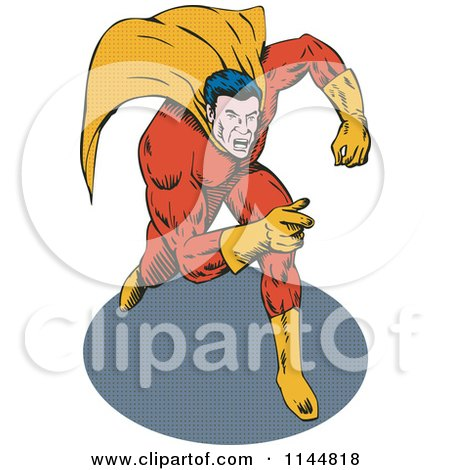 Clipart of a Male Superhero Running and Pointing 2 - Royalty Free Vector Illustration by patrimonio