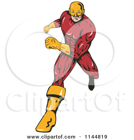 Clipart of a Male Superhero Running 2 - Royalty Free Vector Illustration by patrimonio