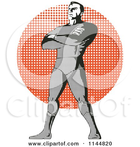 Clipart of a Halftone Male Superhero Standing over a Halftone Circle - Royalty Free Vector Illustration by patrimonio