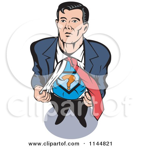 Clipart of a Male Superhero Ripping His Shirt off - Royalty Free Vector Illustration by patrimonio