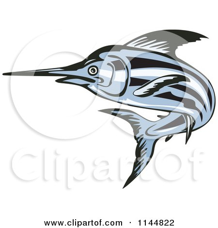 Clipart of a Blue Swordfish Leaping 2 - Royalty Free Vector Illustration by patrimonio