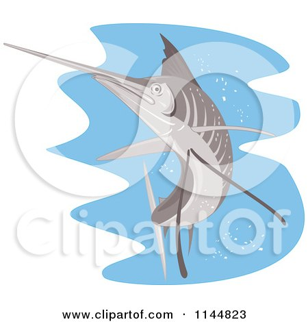 Clipart of a Retro Sailfish 8 - Royalty Free Vector Illustration by patrimonio