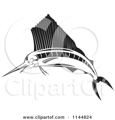 Clipart of a Retro Black and White Sailfish - Royalty Free Vector Illustration by patrimonio