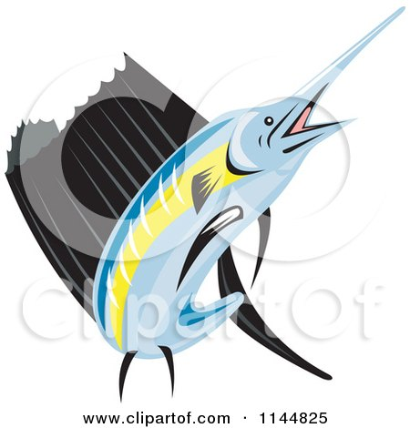 Clipart of a Retro Sailfish 5 - Royalty Free Vector Illustration by patrimonio
