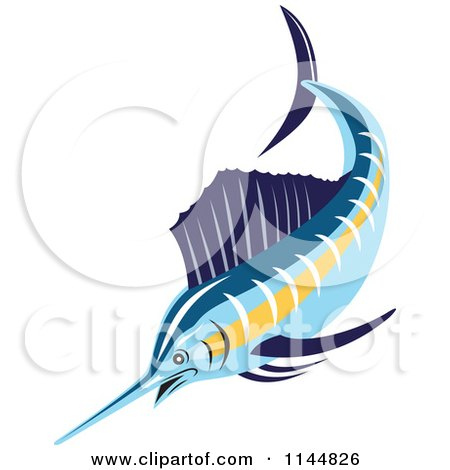 Clipart of a Retro Sailfish 1 - Royalty Free Vector Illustration by patrimonio