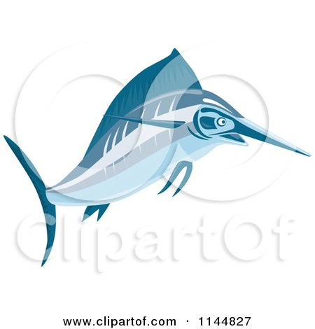 Clipart of a Blue Swordfish Leaping 1 - Royalty Free Vector Illustration by patrimonio