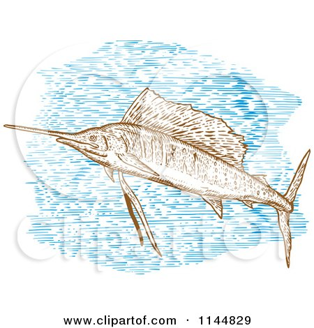 Clipart of an Engraved Sailfish 2 - Royalty Free Vector Illustration by patrimonio