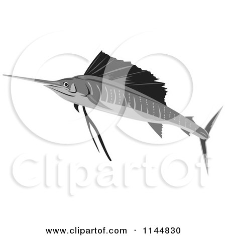 Clipart of a Retro Sailfish 10 - Royalty Free Vector Illustration by patrimonio