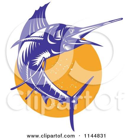 Clipart of a Retro Sailfish 9 - Royalty Free Vector Illustration by patrimonio