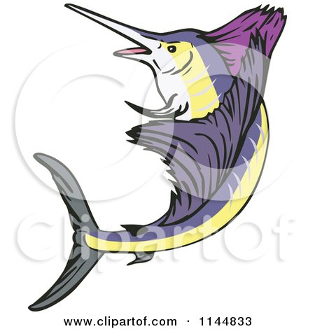 Clipart of a Retro Sailfish 6 - Royalty Free Vector Illustration by patrimonio
