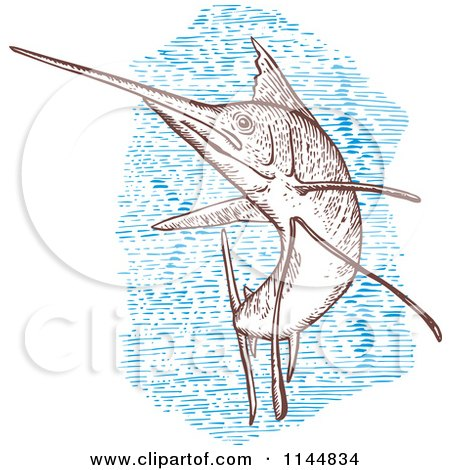 Clipart of an Engraved Sailfish 1 - Royalty Free Vector Illustration by patrimonio