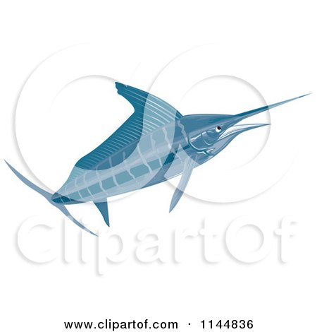Clipart of a Retro Sailfish 3 - Royalty Free Vector Illustration by patrimonio