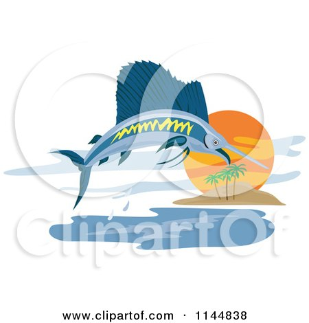 Clipart of a Retro Sailfish Leaping near an Island - Royalty Free Vector Illustration by patrimonio