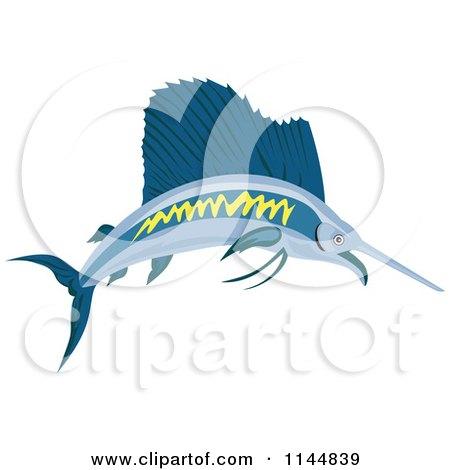 Clipart of a Retro Sailfish 2 - Royalty Free Vector Illustration by patrimonio