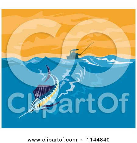 Clipart of a Sailfish Riding a Wave - Royalty Free Vector Illustration by patrimonio