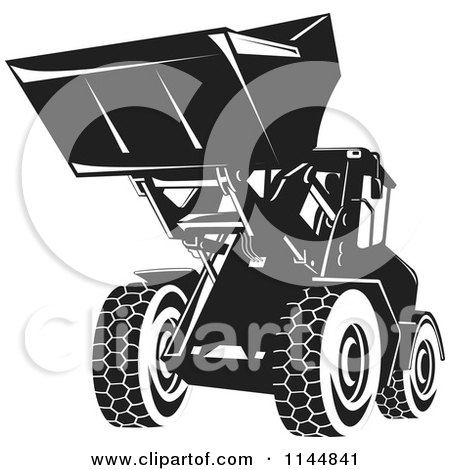 Clipart of a Retro Black and White Front Loader - Royalty Free Vector Illustration by patrimonio