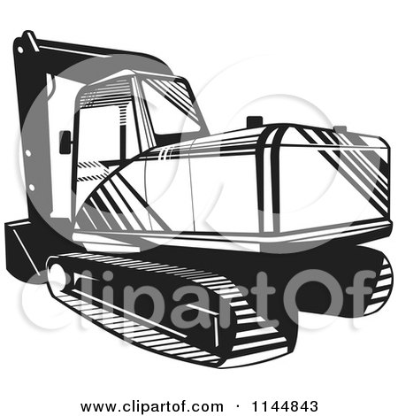 Clipart of a Retro Black and White Mechanical Digger - Royalty Free Vector Illustration by patrimonio