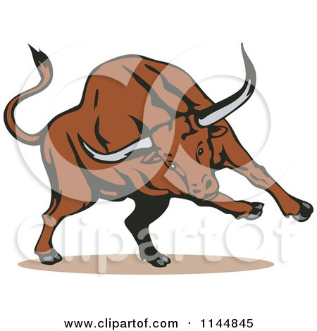 Clipart of a Running Bull - Royalty Free Vector Illustration by patrimonio