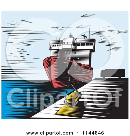 Clipart of a Retro Woodcut Ship at Dock - Royalty Free Vector Illustration by patrimonio