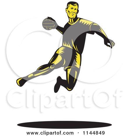 Clipart of a Retro Woodcut Handball Player Jumping - Royalty Free Vector Illustration by patrimonio