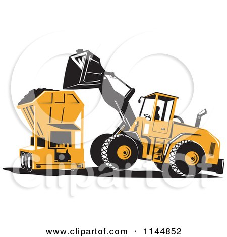 Clipart of a Retro Front Loader Tractor Dumping Soil into a Machine - Royalty Free Vector Illustration by patrimonio
