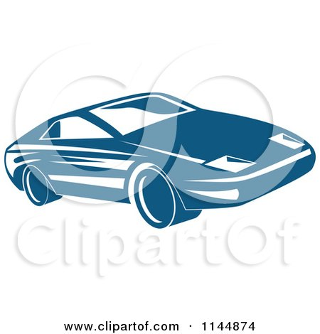 Clipart of a Retro Blue Sports Car - Royalty Free Vector Illustration by patrimonio