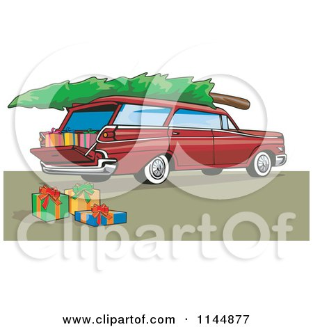 Clipart of a Retro Red Station Wagon with a Christmas Tree and Gifts - Royalty Free Vector Illustration by patrimonio