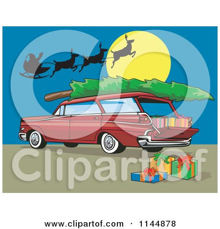 Clipart of a Retro Red Station Wagon with a Christmas Tree Santa and Gifts - Royalty Free Vector Illustration by patrimonio