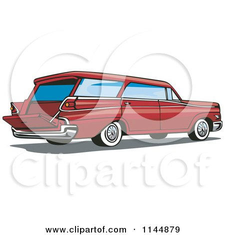 Clipart of a Retro Red Station Wagon - Royalty Free Vector Illustration by patrimonio