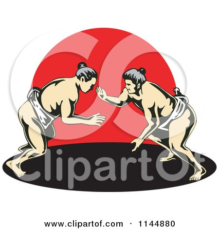 Clipart of a Sumo Wrestling Match over Red - Royalty Free Vector Illustration by patrimonio